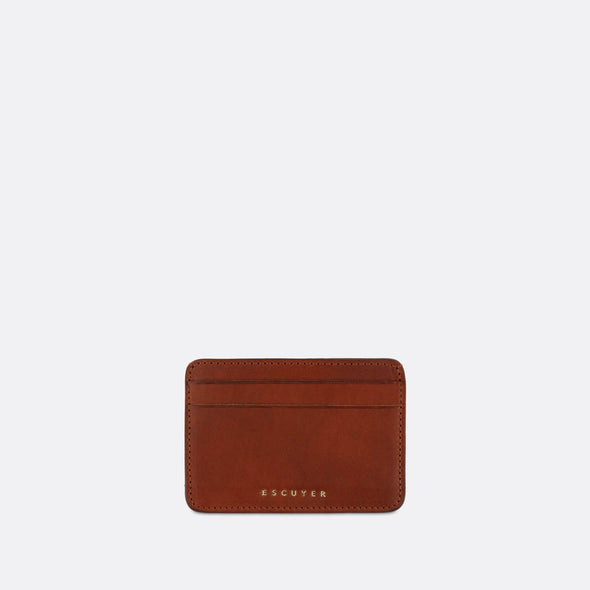 Sophisticated brown leather cardholder for cards and folded notes.