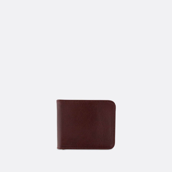 Classic burgundy billfold wallet with a contrasting interior.