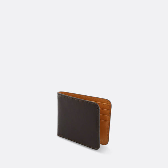 Classic dark brown billfold wallet with a contrasting natural interior.