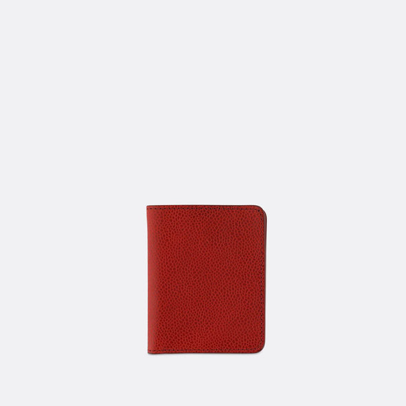 Sophisticated red leather slim wallet with 6 card slots and a bill sleeve.