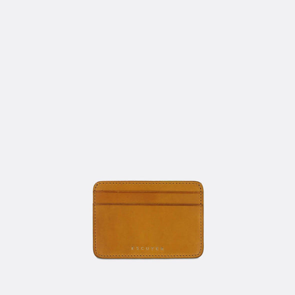 Sophisticated yellow leather cardholder for cards and folded notes.