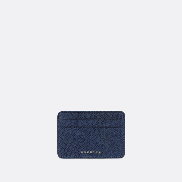 Sophisticated blue leather cardholder for cards and folded notes.