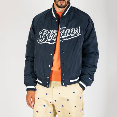 Champion x Beams bomber jacket made from a dark navy padded durable polyester with ribbed cuffs, neck and hem.