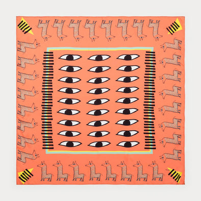 Orange multicolor scarf with llamas.