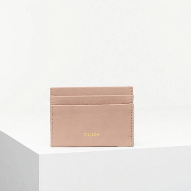 Card holder with printed logo in gold color.