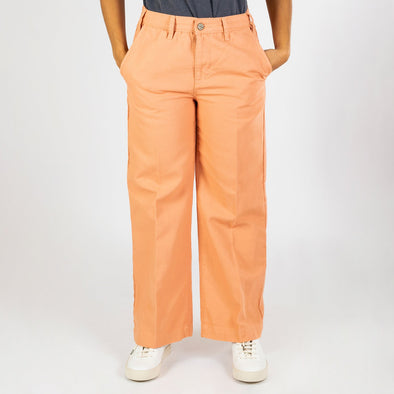 Dusty coral canvas sailor trousers with high-waist, wide leg and cropped hem.
