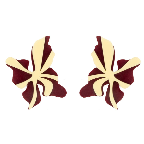 Original golden and bordeaux earrings to transform both your look and mood. Free shipping to selected European countries.