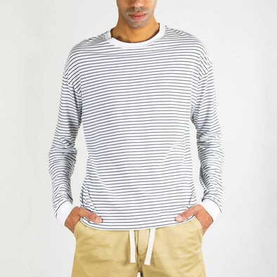 Black and white striped long sleeved round neck t-shirt.