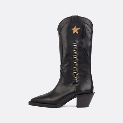 Upper-high black leather boots with a perforated star and a golden interior.