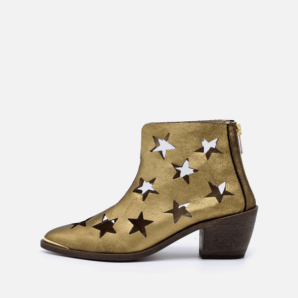 Golden star perforated leather heeled ankle boots.
