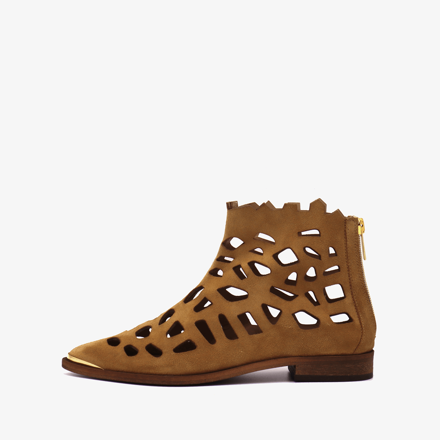 Perforated suede brown flat ankle boots with golden details.