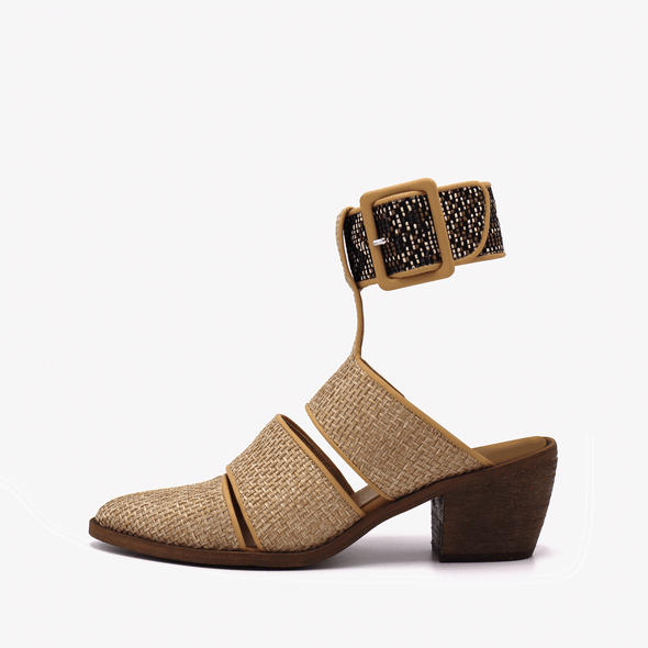 Heeled rafia and cotton sandals with open back and ankle strap.