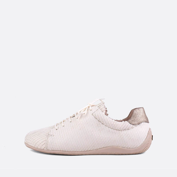 Textured low-top sneakers in white and gold.