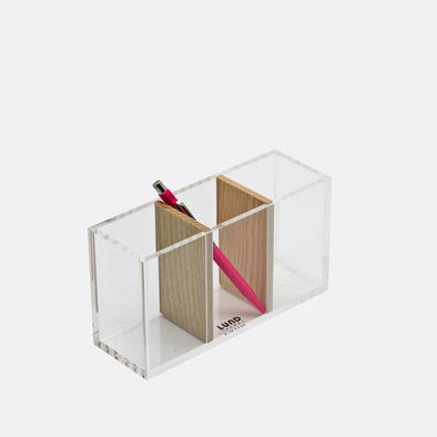 Transparent acrylic and natural wood storage pot with three compartments.