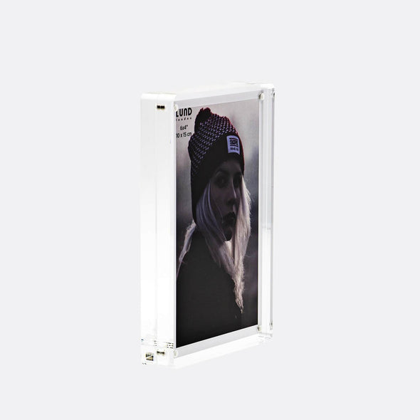 4x6 acrylic photo frame with sliding clear back.