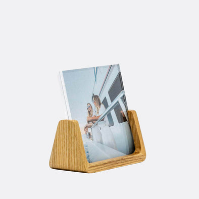 4×4 wooden base frame with acrylic aperture for photos.