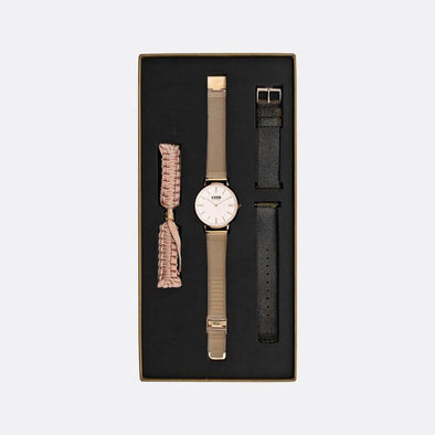Rose gold 39mm watch with rose gold mesh strap, vintage black and nude braided straps.