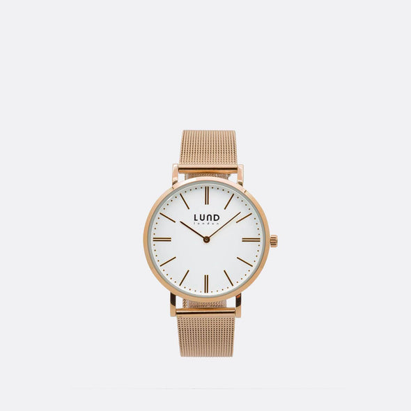 Rose gold metal mesh watch with 34mm rose gold dial.