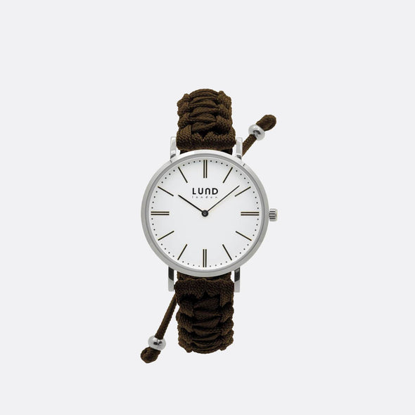 Chocolate braided watch with 39mm silver dial.