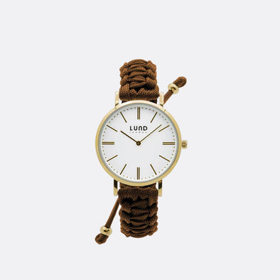 Hazelnut braided watch with 39mm rose gold dial.