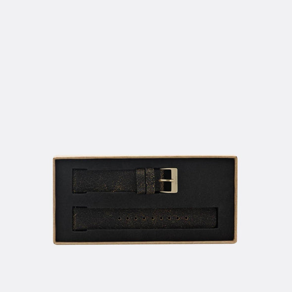 Vintage black leather strap with gold clasp.