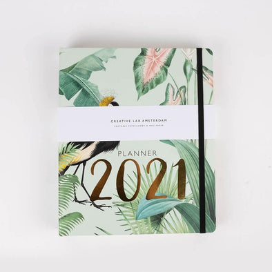 2021 Planner with animal print and jungle theme .