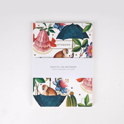 Notebook Set with flower print and jungle theme .