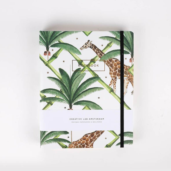 Labyrinth Notebook with giraffe print and jungle theme .