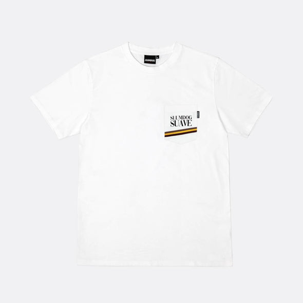 White pocket tee with screen printed graphic.