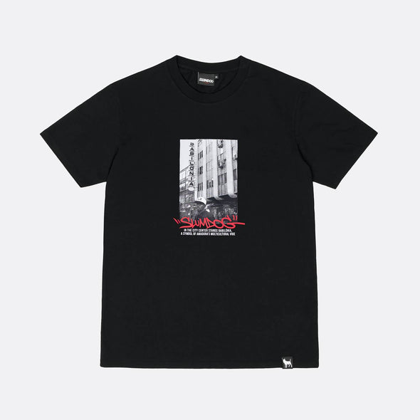 Black tee with front screen printed graphic.