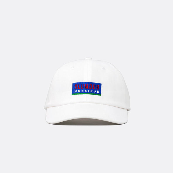 White cap with an embroidered logo and adjustable fabric strap.