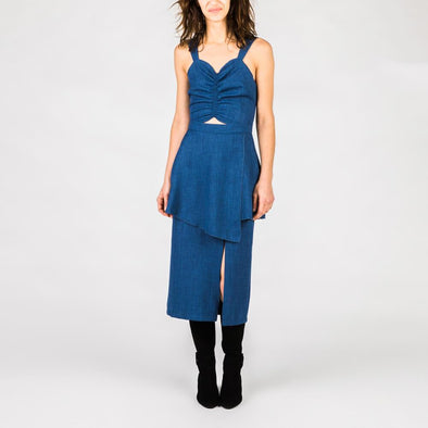 Blue denim midi dress.