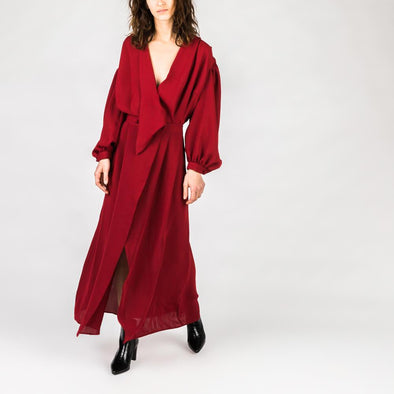 Bordeaux maxi dress.