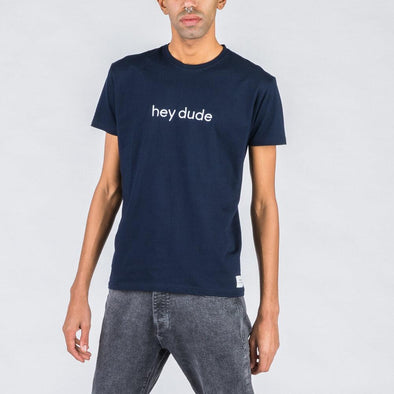 Navy blue t-shirt with white embroidery in the middle.