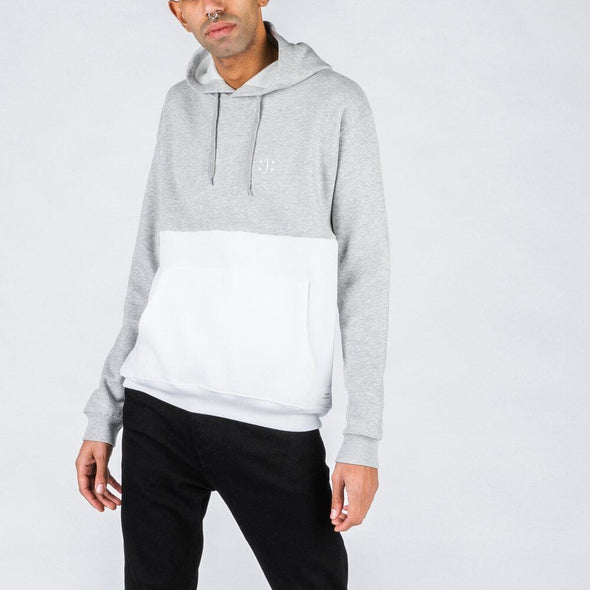White and grey sweatshirt with smile embroidery.