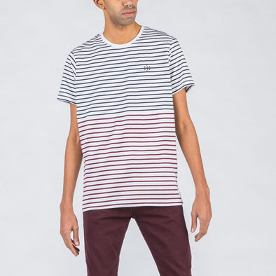 White t-shirt with navy blue and bordeaux stripes and smile embroidery.