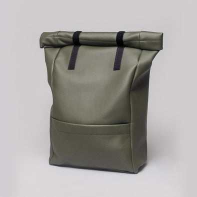 Water resistant roll–top backpack in olive green vegan leather.