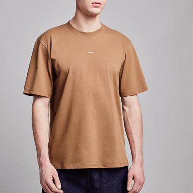 Minimalist brown t-shirt with round collar and white chest embroidery.