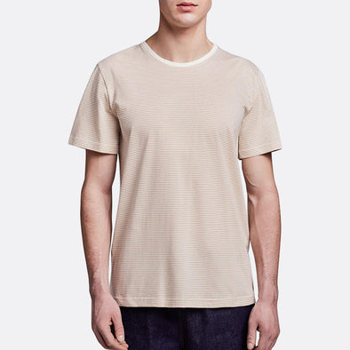 Minimalist regular fit t-shirt in white and khaki stripes.