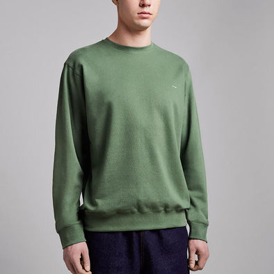 Olive green crewneck sweatshirt with white embroidery on the chest.