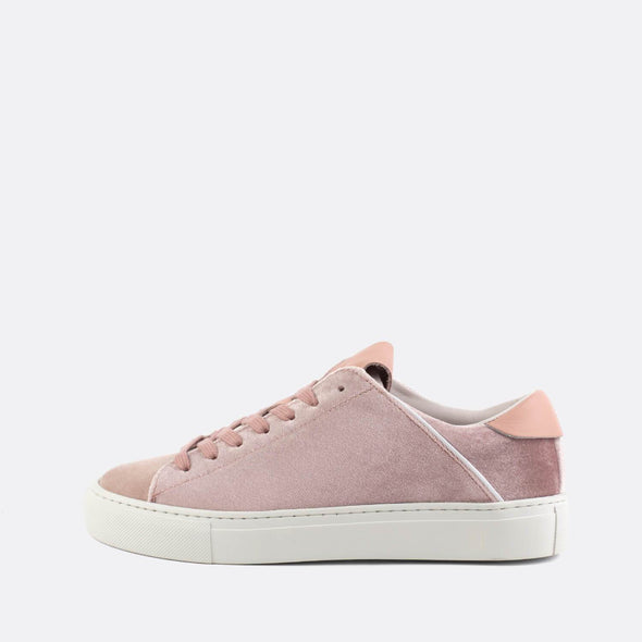 Minimalist pink velvet low-top sneakers with a premium removable insole.