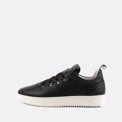 Minimalist black leather sneakers with a sleek silhouette.