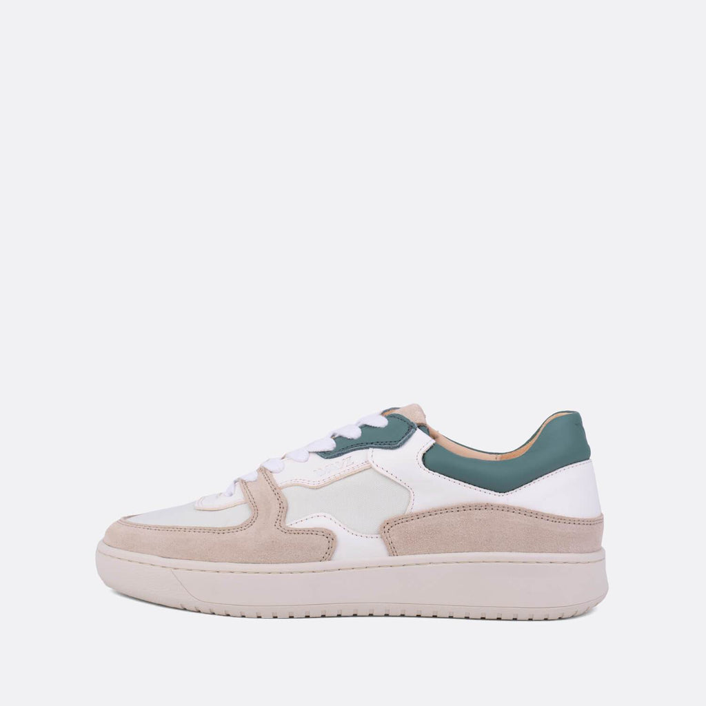Low-top sneakers in almond milk, white and green.