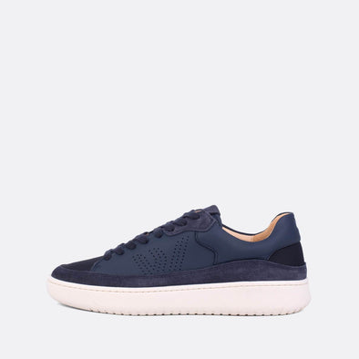 Low-top sneakers in indigo leather and suede.