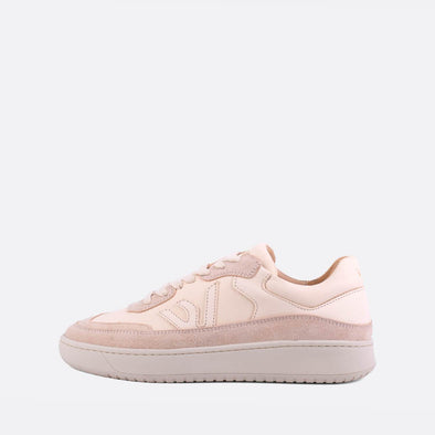 Low-top sneakers in almond milk leather and suede.