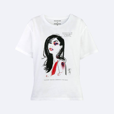 White cotton tee made in collaboration with Jacqueline Bissett to support victims of domestic violence.