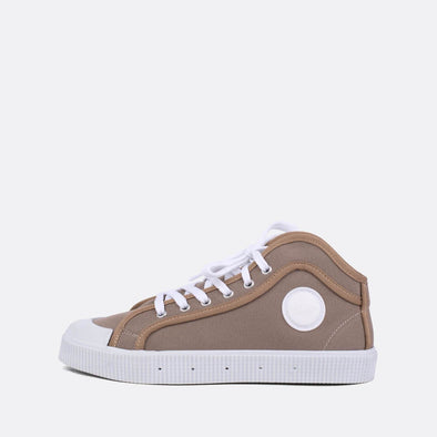 Unisex iconic high-top sneakers in beige canvas.