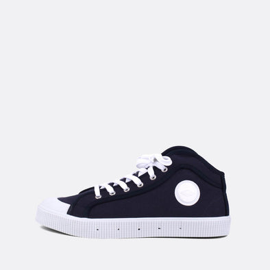 Iconic high-top sneakers in navy blue canvas.
