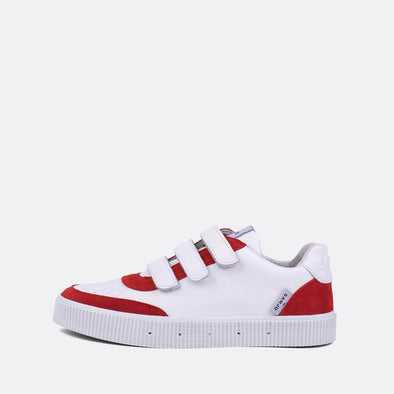 80s inspired low-top sneakers in red and white.