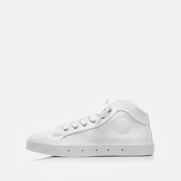 High-top sneakers in white.